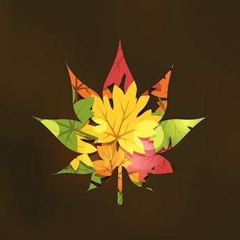Doble exposición de otoño en la ilustración de estilo plano
