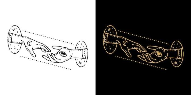 Doble mano desde el diseño de monolínea de tatuaje geométrico circular