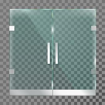 Doble puerta de cristal. puertas de entrada de la tienda del centro comercial en marco de metal de acero para oficina moderna o plantilla aislada de tienda