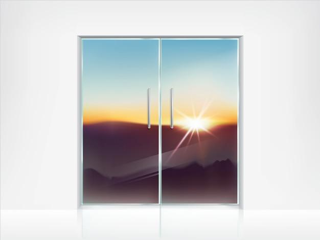Doble puertas de vidrio cerradas y vista detrás de ellas