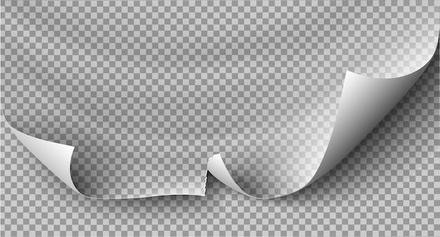 Doblez de página con sombra en la hoja de papel en blanco