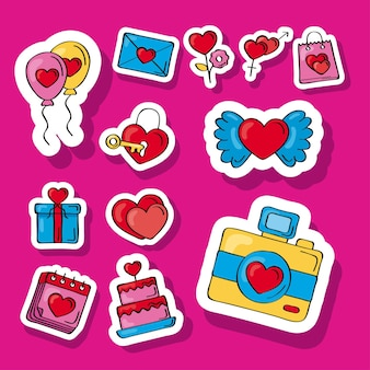 Doce iconos de garabatos de amor
