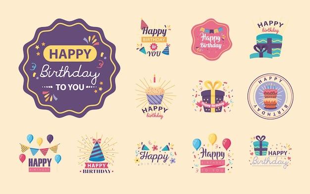 Doce insignias feliz cumpleaños con decoración, diseño de ilustraciones