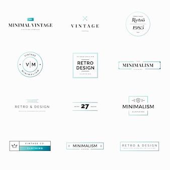 Doce logos minimalistas de cosecha y retro vectoriales para tiendas