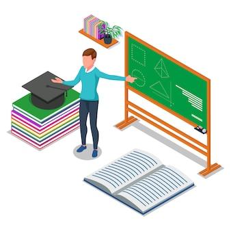 Docente enseñando en el tablero. ilustración isométrica de regreso a la escuela. vector