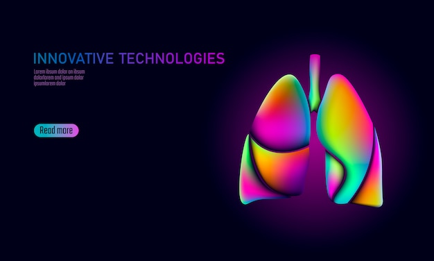 Doctor aplicaciones médicas en línea de aplicaciones móviles. salud digital medicina pulmones gradiente color brillante vibrante fluido plástico 3d. ilustración de tecnología de innovación de forma holográfica de neón glitch
