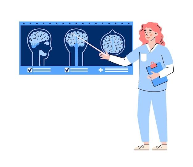 Doctor apuntando a resonancia magnética o tomografía escanea plano aislado.