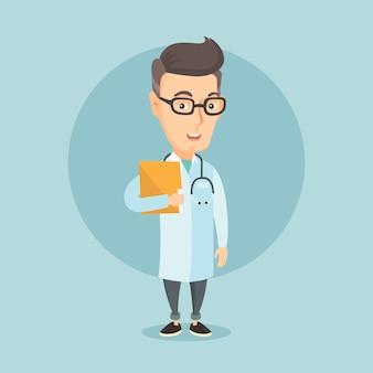 Doctor con archivo en consultorio médico.