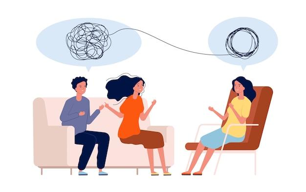 Doctor ayuda al paciente. concepto de psicología de problemas de tratamiento mental. ilustración psicología tratamiento de pareja, ayuda de psicoterapia