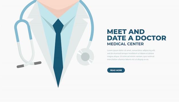 Doctor en bata de laboratorio con estetoscopio. bandera médica y sanitaria.