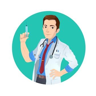 Doctor blanco caucásico sonriente sosteniendo una jeringa de inyección médica con vacuna.