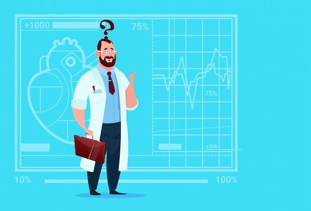 Doctor confused thinking clínicas médicas trabajador hospital