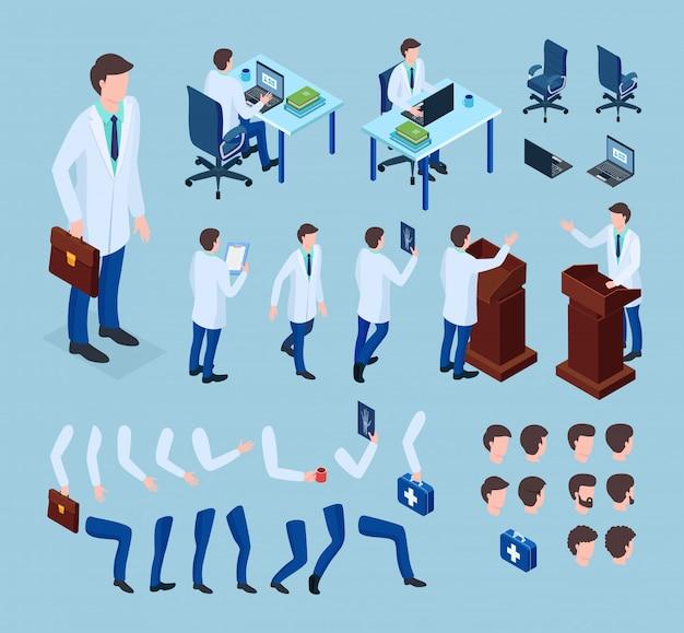 Doctor constructor ilustración isométrica hombre animación médica conjunto de caracteres.