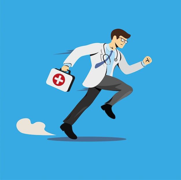 Doctor corriendo con botiquín, personaje de hospital de emergencia en ilustración plana de historieta cómica