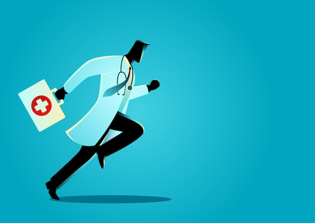 Doctor corriendo con maleta