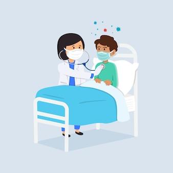 Doctor cuidando paciente en hospital