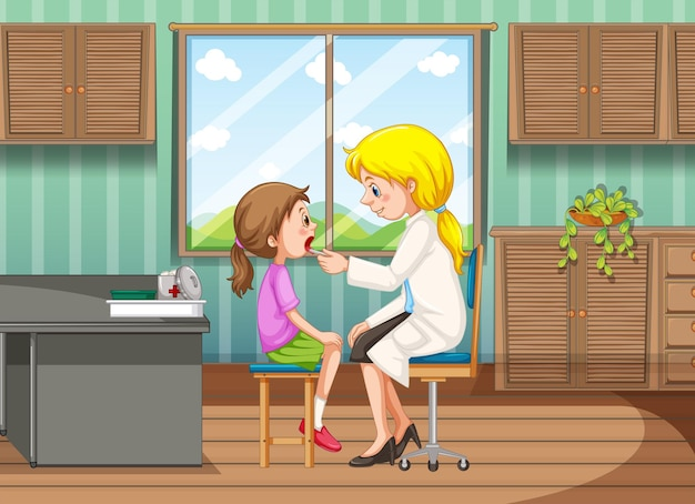 Doctor dando tratamiento a la niña en la clínica