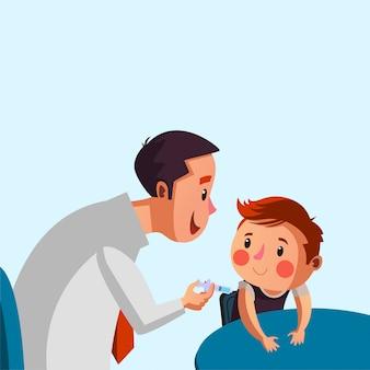 Doctor dar vacunas a la ilustración del niño masculino