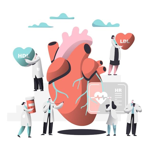 Doctor diagnostica el corazón para la imagen de presencia de colesterol.