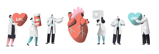 Doctor diagnosticar corazón para el conjunto de presencia de colesterol.