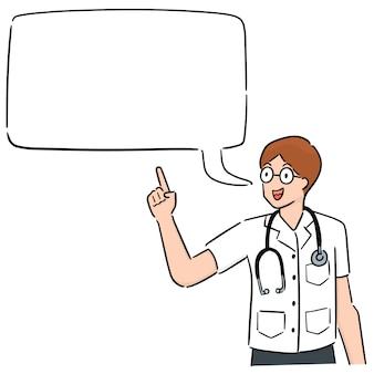 Doctor de dibujos animados con buble de dialogo.