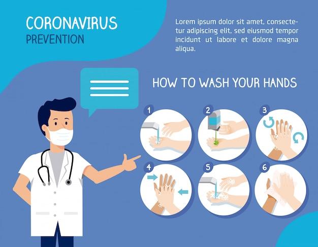 El doctor dijo y lávese las manos para protegerse del coronavirus
