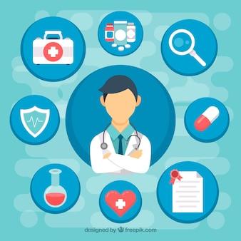 Doctor con diseño plano e iconos médicos