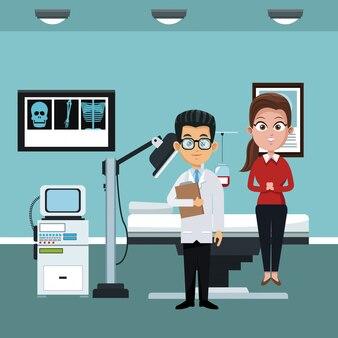 Doctor en la oficina del hospital con el paciente