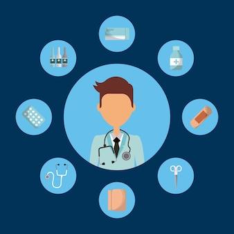 Doctor en medicina con iconos de equipos de medicina alrededor de o