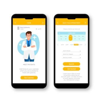El doctor se encuentra con la aplicación de reserva médica de pacientes