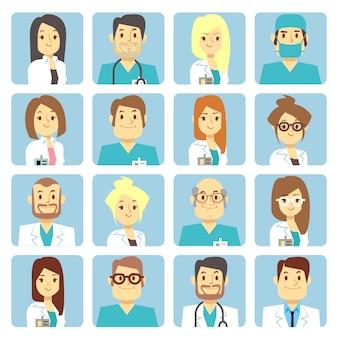 Doctor y enfermera avatares planos