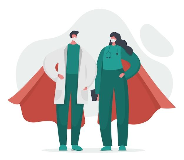 Doctor y enfermera superhéroes con capas.