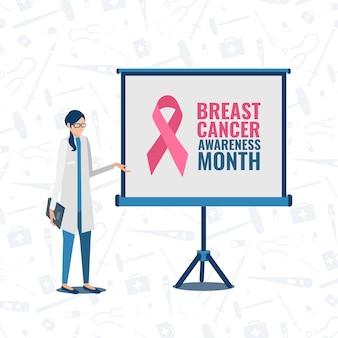 Doctor con enrollar la conciencia del cáncer de mama