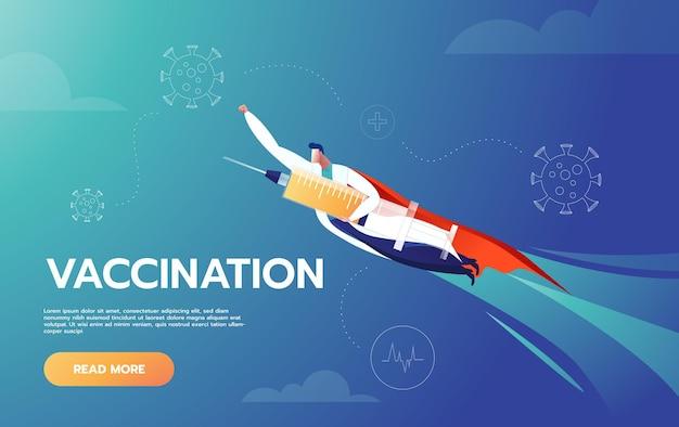 Doctor es héroe sosteniendo una vacuna y volando para proteger a las personas