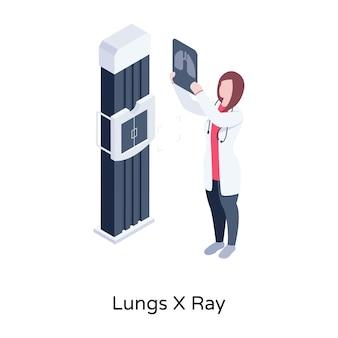 Doctor escaneando pulmones vector isométrico de rayos x