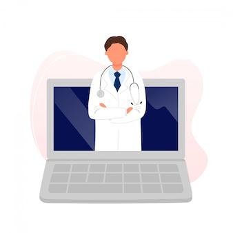 Doctor con estetoscopio en la pantalla del portátil