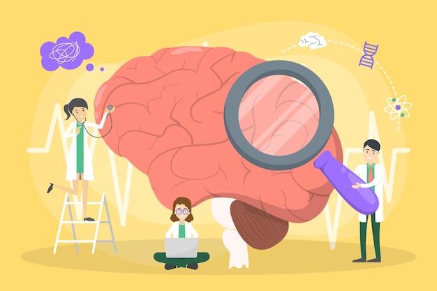 El doctor examina el cerebro enorme. idea de tratamiento médico