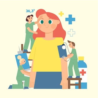 Doctor examinando a un paciente en la clínica ilustrada