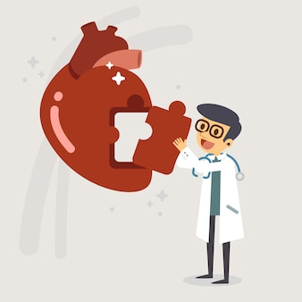 Doctor fijación ilustración de vector de corazón de rompecabezas