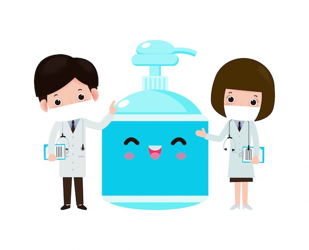 Doctor y gel de alcohol, protección contra virus y bacterias, concepto de estilo de vida saludable aislado en la ilustración de fondo blanco