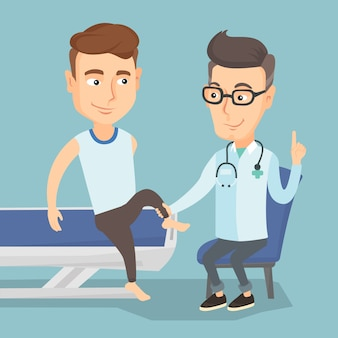 Doctor de gimnasio comprobando el tobillo de un paciente.