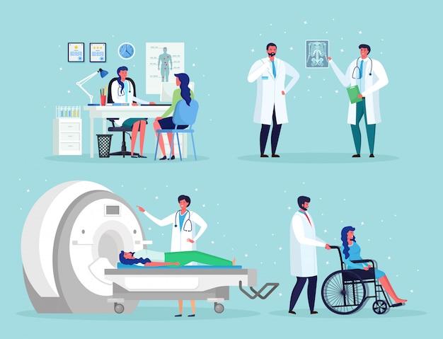 El doctor habla con el hombre. tecnología de imágenes por resonancia magnética tomografía, radiología, máquina de rayos x para examen de enfermedades oncológicas mri. enfermera, silla de ruedas para pacientes mayores discapacitados