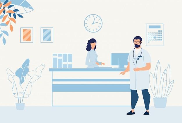 Doctor hablando con la enfermera en el mostrador de recepción cartoon