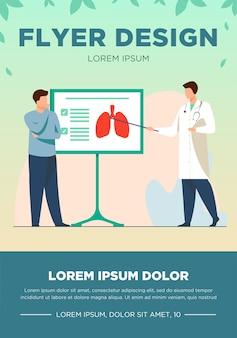Doctor hablando de pulmones al paciente. conferencia, enfermedad, respiración ilustración vectorial plana. concepto de medicina y salud para banner, diseño de sitio web o página web de destino