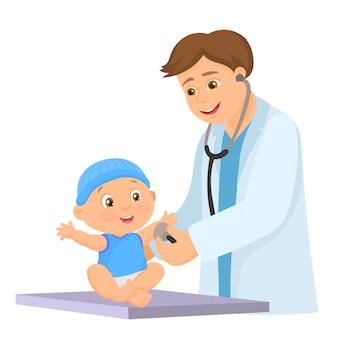 Doctor haciendo examen médico de bebé