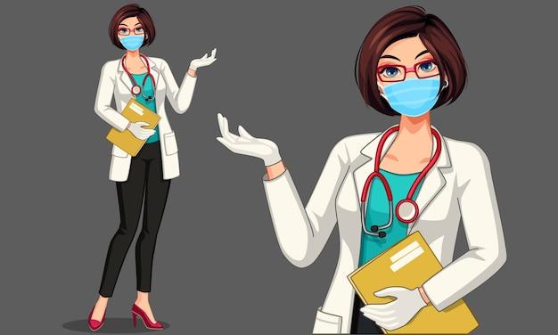 Doctor hermoso de la señora joven que lleva el ejemplo de la máscara