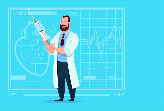 Doctor holding jeringa hospital de trabajadores de clínicas médicas