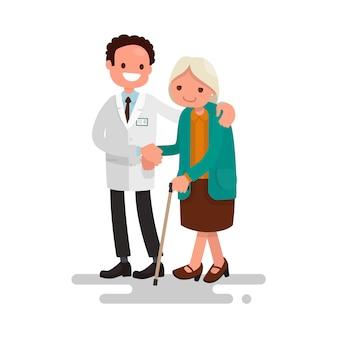 Doctor hombre ayudando a una abuela con un bastón.