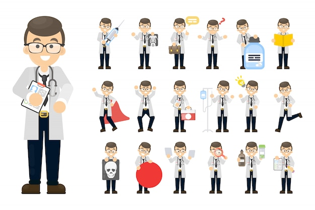 Doctor hombre conjunto. posando y actividades en blanco.