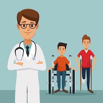 Doctor con hombres con muletas y minusválidos en silla de ruedas